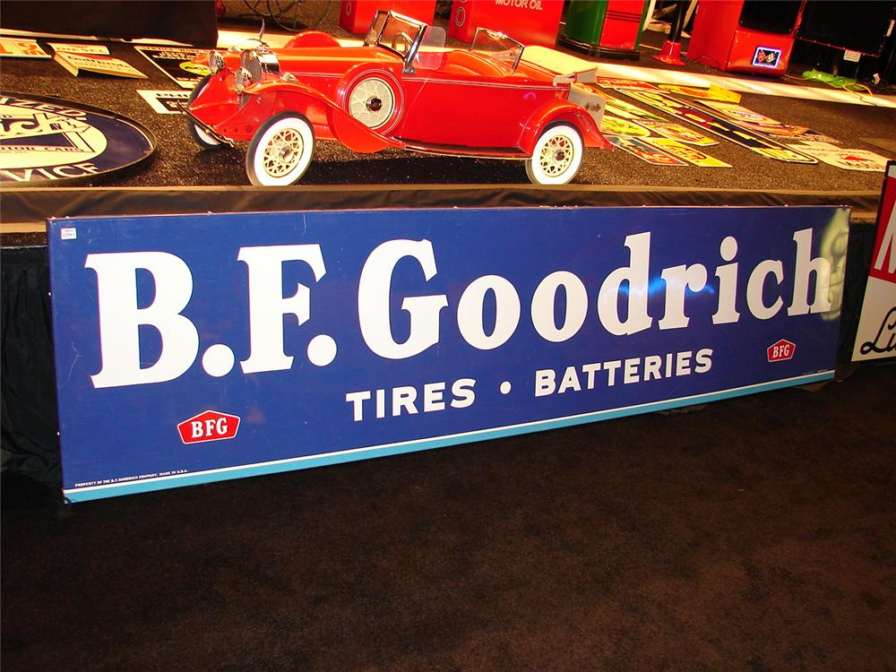 Fabulous N.O.S. 1950 s B. F. Goodrich Tires single-sided tin garage sign. - Front 3/4 - 70323