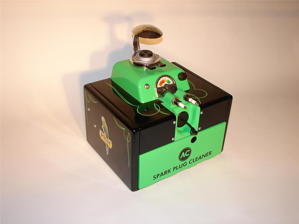 Beautifully restored 1940s AC Spark Plug countertop cleaner/tester.  Restored in Polly Gas regalia. - Front 3/4 - 70330