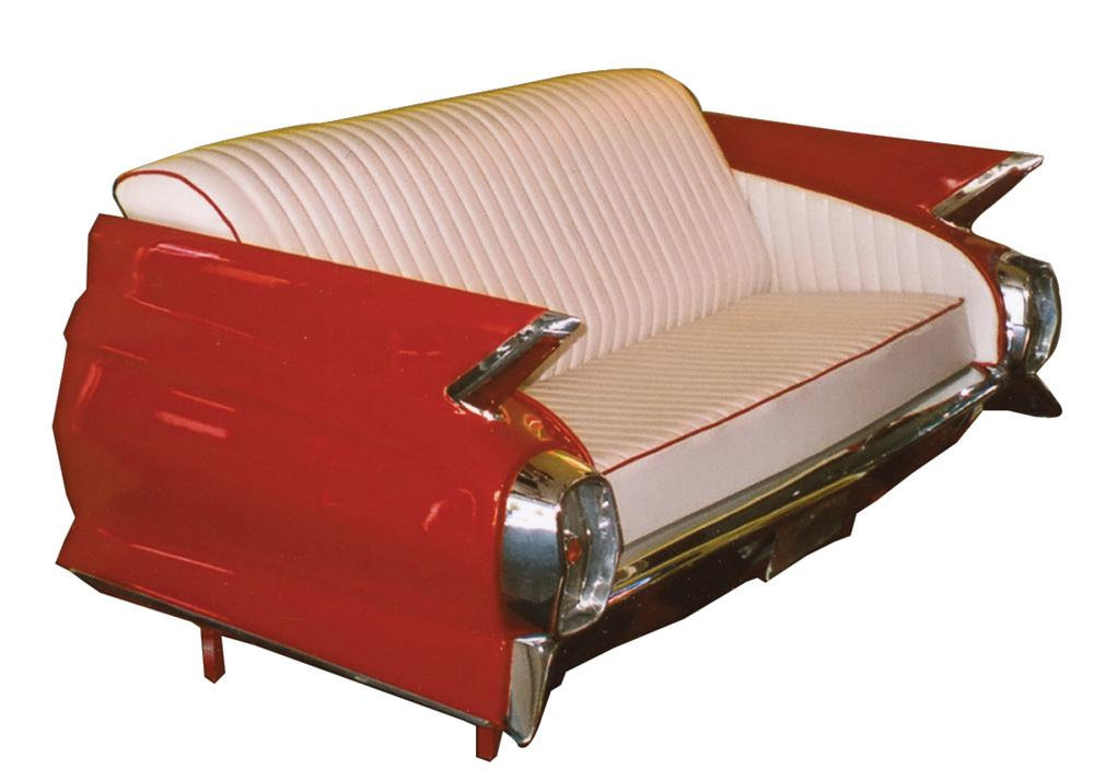Phenomenal 1962 Cadillac car couch.  Made from an original rear end. - Front 3/4 - 70331