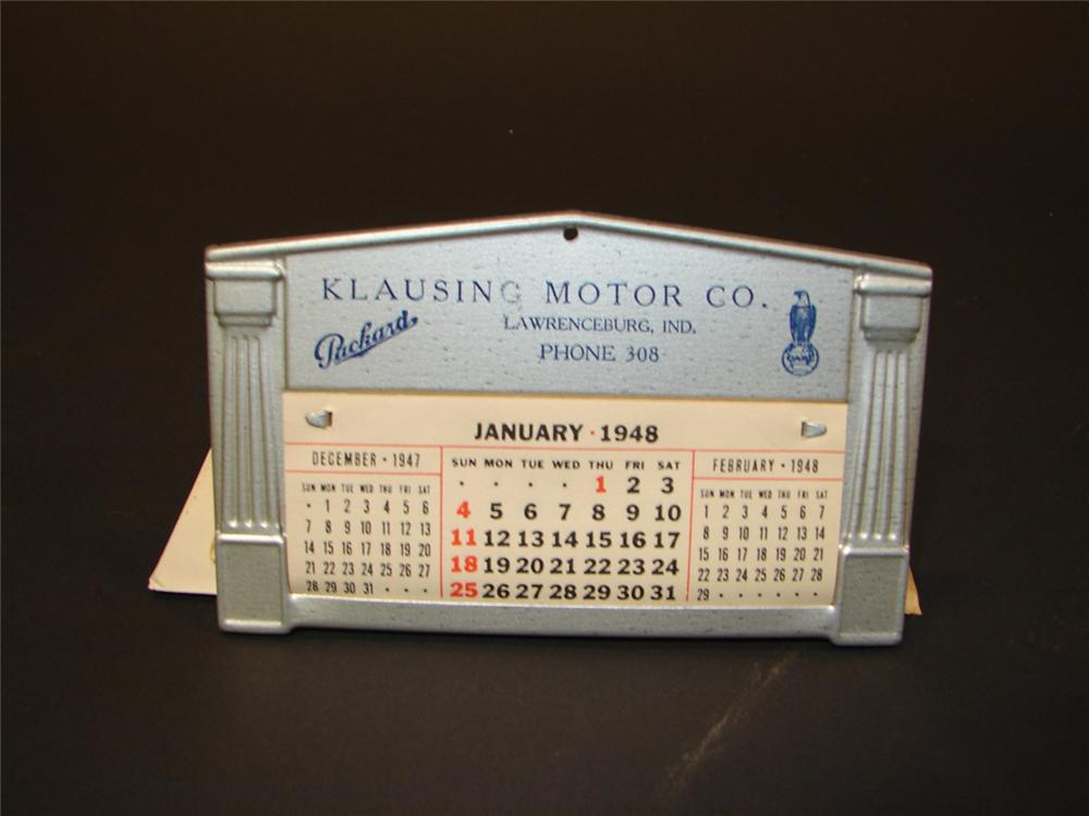 N.O.S. 1948 Packard Automobiles - Case Tractors dealership promotional tin calendar still in the original envelope. - Front 3/4 - 71309