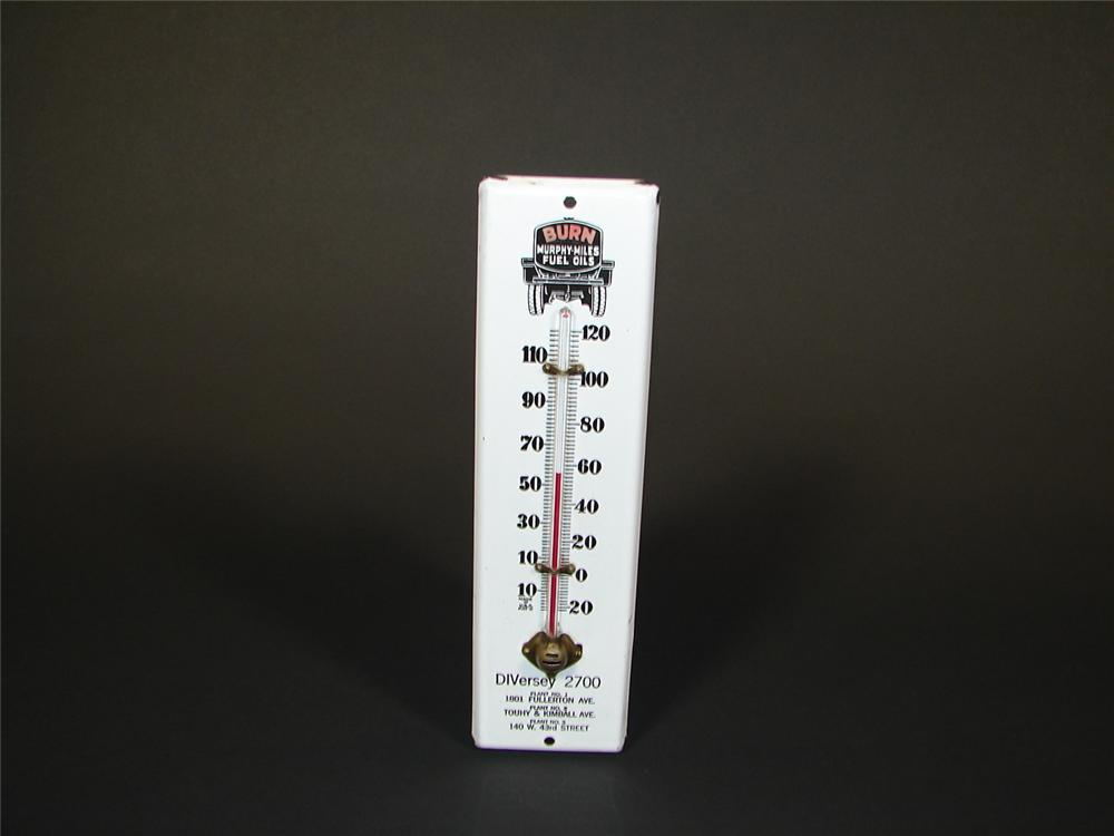 Late 1920s Murphy Miles Oil porcelain station thermometer. - Front 3/4 - 71313