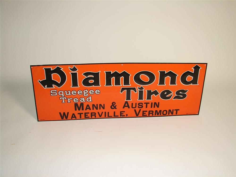 N.O.S. late 1920s Diamond Tires single-sided tin embossed garage sign. - Front 3/4 - 71329