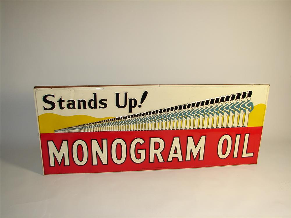 Scarce 1940s Monogram Oils single-sided embossed tin station sign. - Front 3/4 - 71330