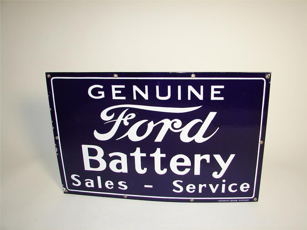 "Scarce 1930s N.O.S. Ford Battery Service ""Sales-Service"" single-sided porcelain garage sign. - Front 3/4 - 71339"