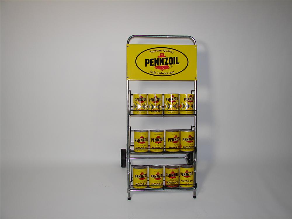 N.O.S. late 60s Pennzoil service station island rack with 12 cans. - Front 3/4 - 71351