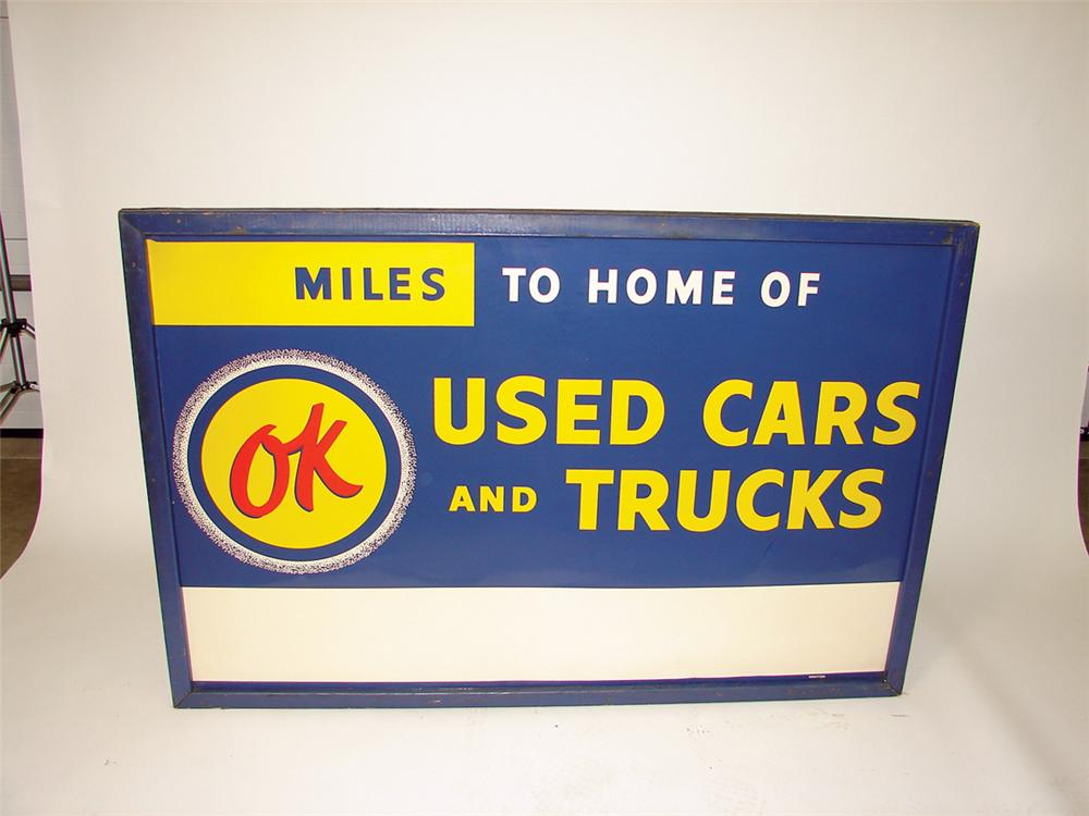 Spectacular N.O.S. 1950s Chevrolet OK Used Cars-Trucks tin painted wood framed dealership sign. - Front 3/4 - 71356