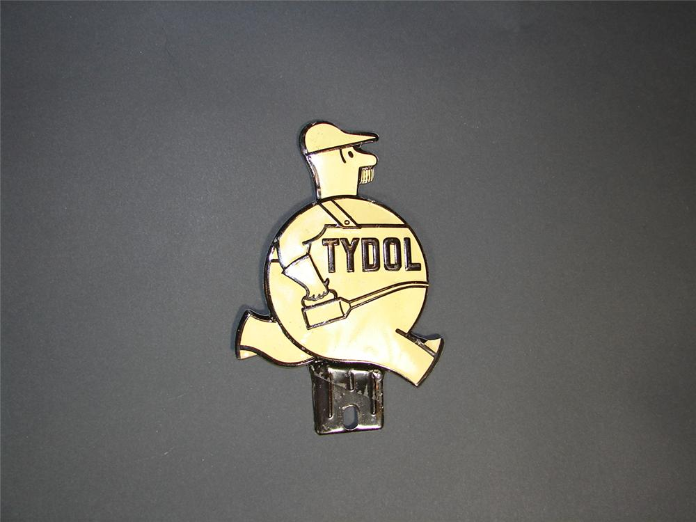 N.O.S. 1930s Tydol Motor Oil tin license plate attachment sign. - Front 3/4 - 71361