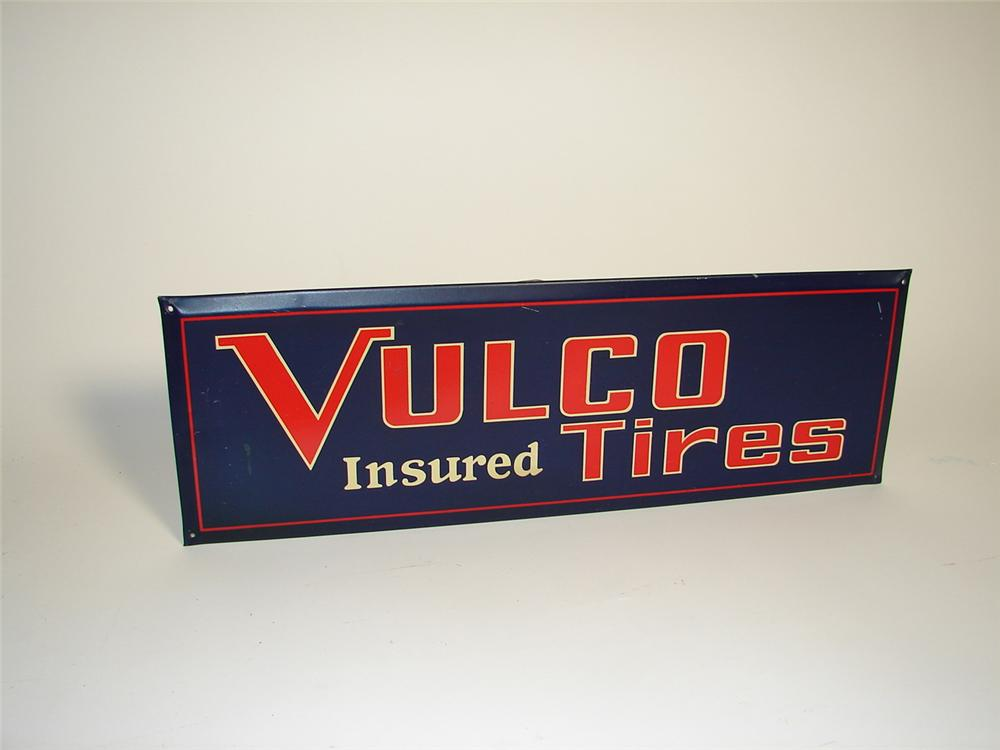 N.O.S. 1920s Vulco Tires self-framed tin litho garage sign. - Front 3/4 - 71373