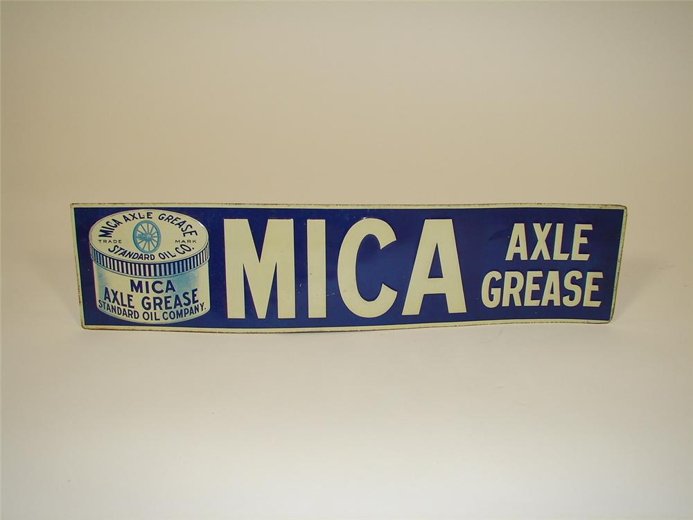 N.O.S. turn of the century Standard Mica Axle Grease tin station sign. - Front 3/4 - 71376