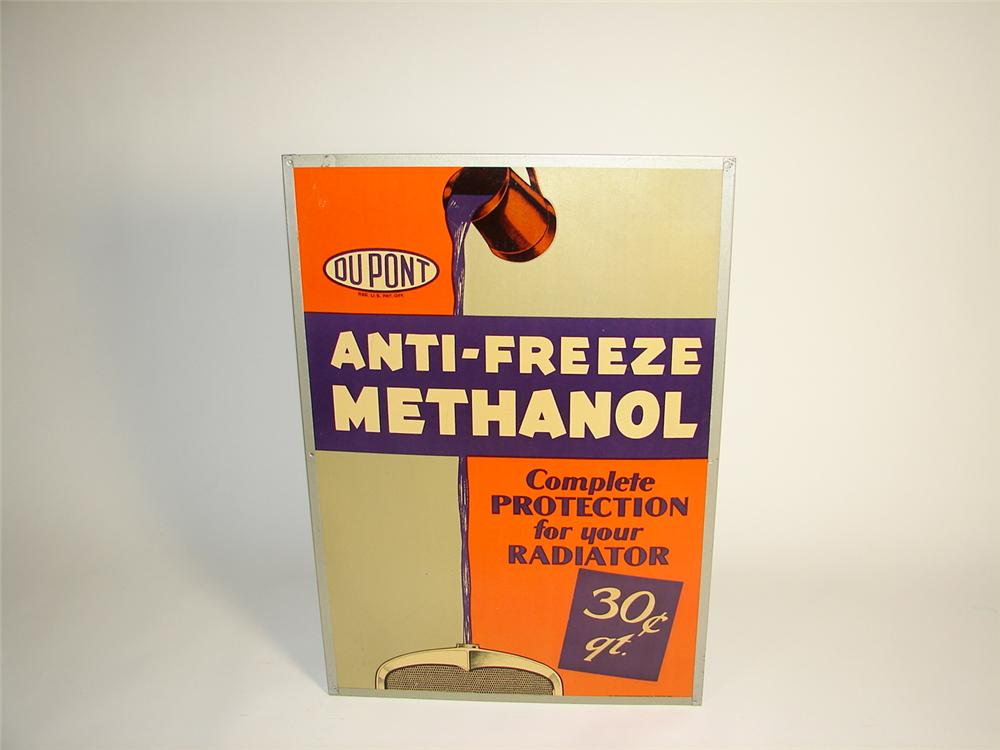 N.O.S. late 20s Dupont Anti-Freeze station cardboard sign in the original metal frame. - Front 3/4 - 71389