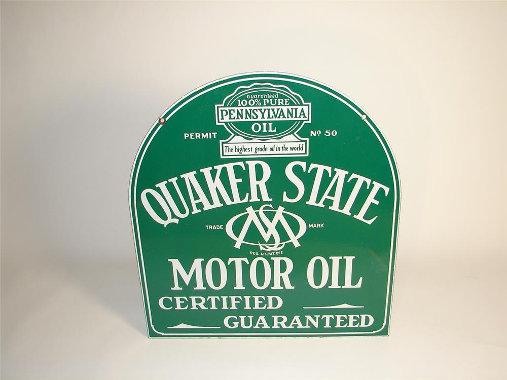 Gorgeous 1930s Quaker State Motor Oil double-sided porcelain station sign. - Front 3/4 - 71391