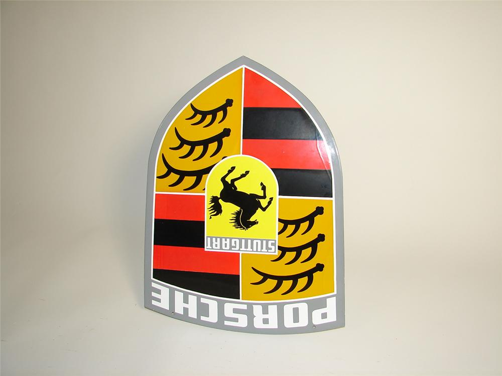 N.O.S. 1960s Porsche Automobiles single-sided porcelain dealership sign. - Front 3/4 - 71400