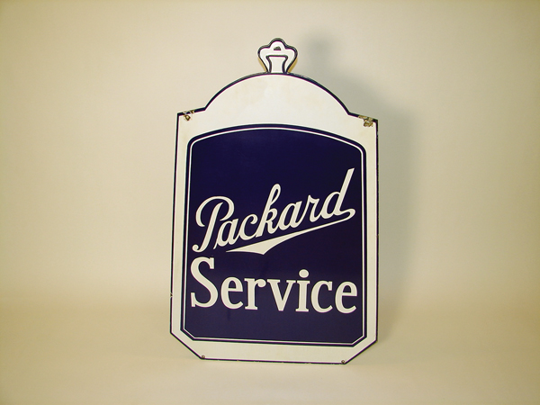 Rare 1930s Packard Automobiles Service radiator shaped double-sided porcelain dealership sign. - Front 3/4 - 71406