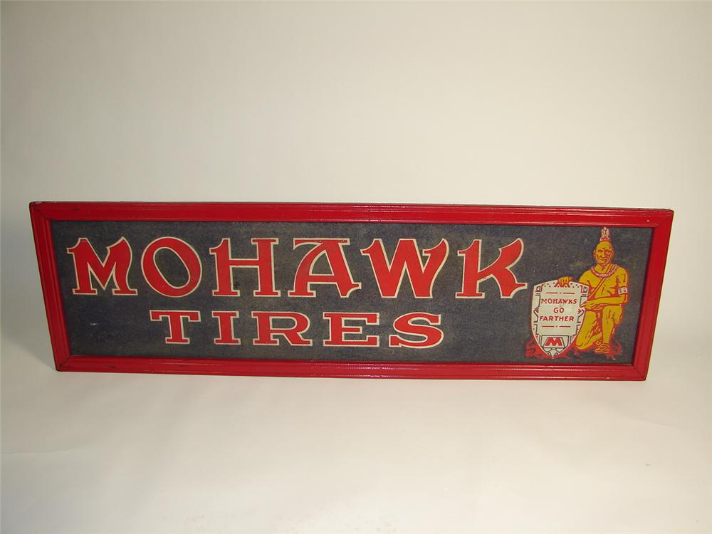 Museum quality 1920s Mohawk Tires horizontal tin garage sign made with early  crush glassed paint. - Front 3/4 - 71407