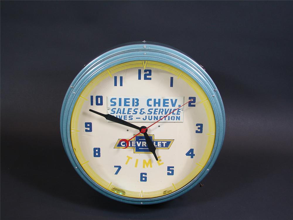 Immaculate 1940s Chevrolet Time neon dealership clock. - Front 3/4 - 71410