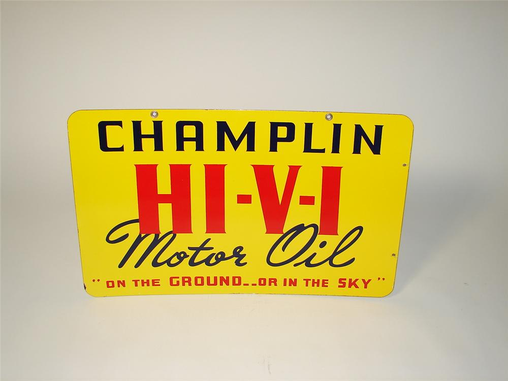 Immaculate N.O.S. 1930s Champlin Hi-V-I Motor Oil double-sided porcelain service station sign. - Front 3/4 - 71426