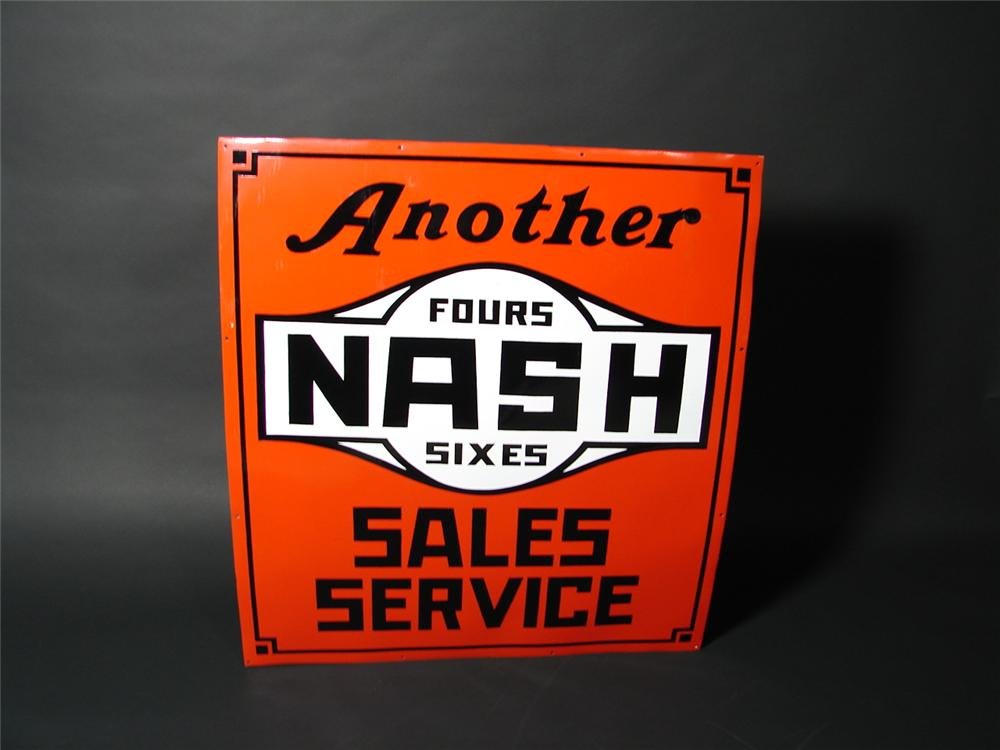"""Late 20s-early 30s Nash """"Fours-Sixes""""  restored porcelain dealership sign. - Front 3/4 - 71431"""