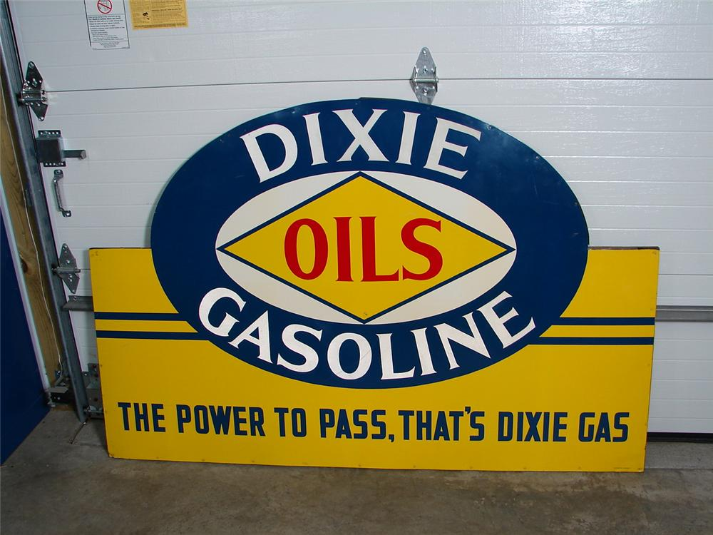 """Unbelievable 1930s Dixie Gasoline """"Power to Pass"""" single-sided wood framed station sign. - Front 3/4 - 71432"""