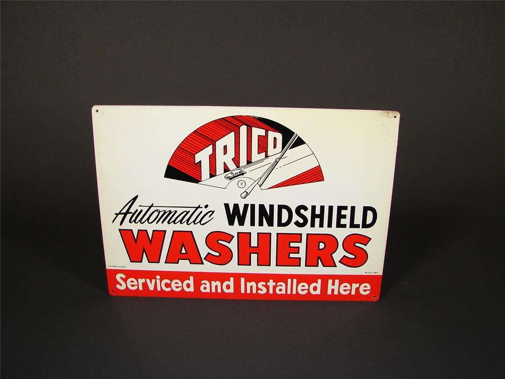 N.O.S. 1950s Trico Winshield Washers single-sided tin garage sign. - Front 3/4 - 71444