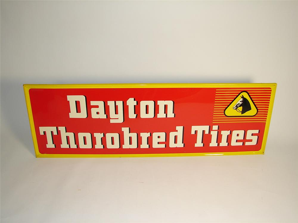 N.O.S. 1954 Dayton Thorobred Tires single-sided tin self-framed garage sign. - Front 3/4 - 71450