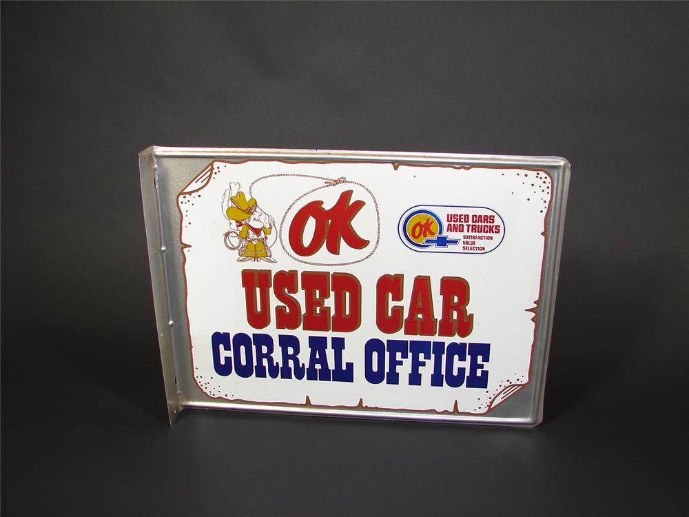 Fabulous OK Used Cars Corral Office double-sided tin garage flange. - Front 3/4 - 71458