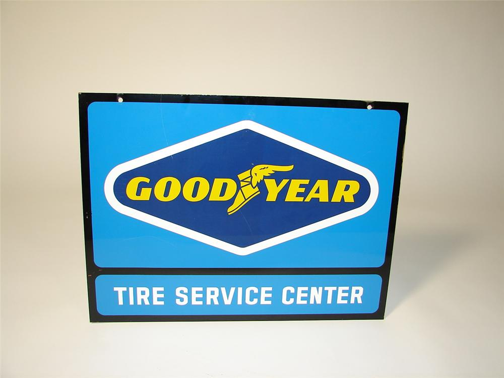 N.O.S. Goodyear Tire Service center double-sided tin garage sign. - Front 3/4 - 71471
