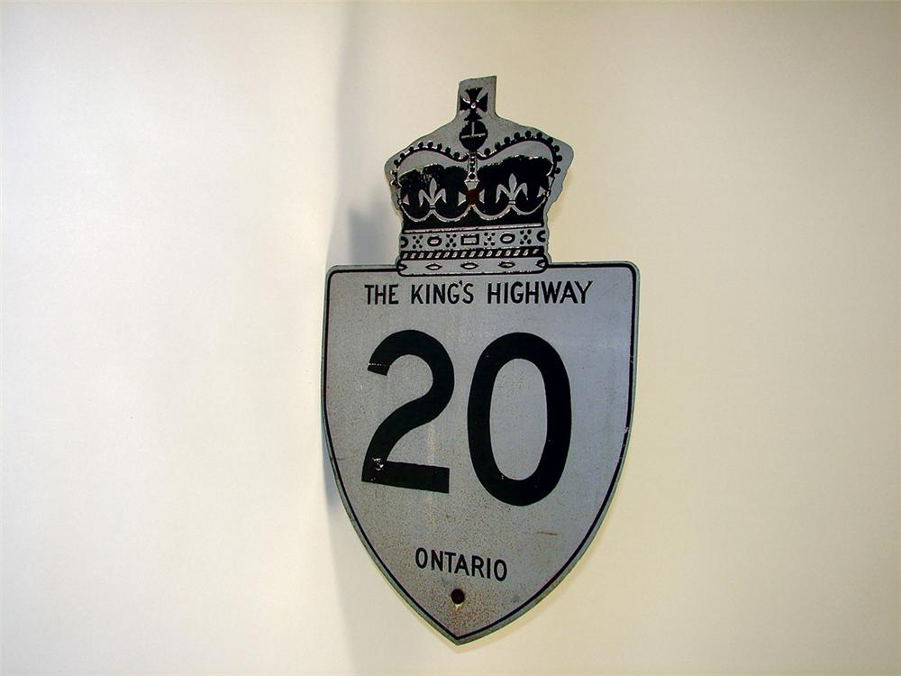 """Vintage Ontario King""""s Highway 20 road sign. - Front 3/4 - 71473"""