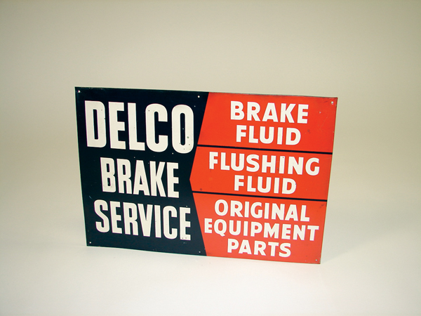 1950s Delco Brake Service single-sided tin garage sign. - Front 3/4 - 71476
