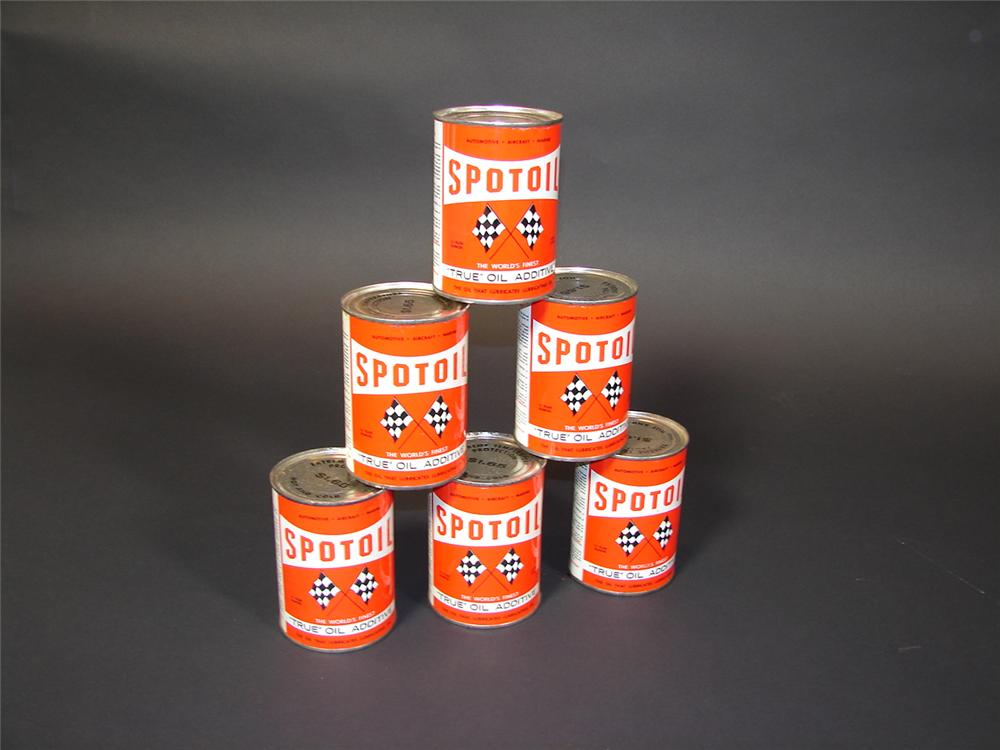 Set of six Spot Oil  additive metal display cans. - Front 3/4 - 71496