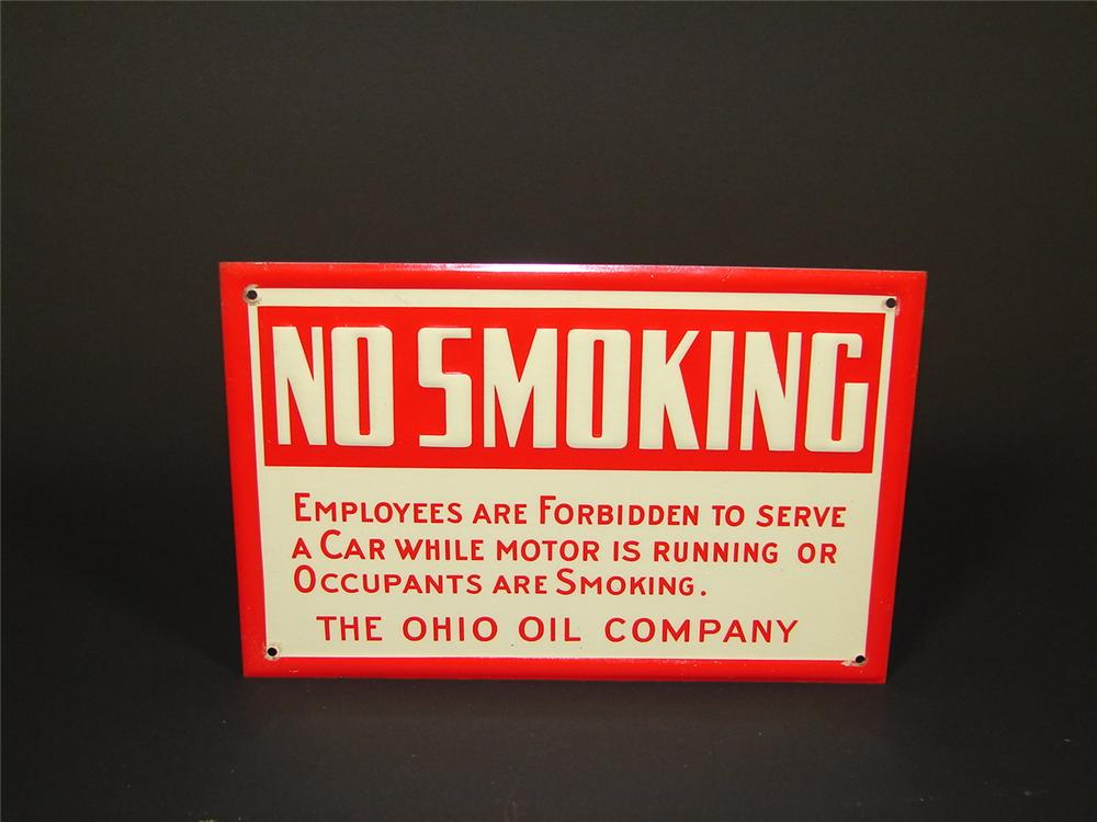 "N.O.S. 1930s Ohio Oil Company ""No Smoking"" fuel island station sign. - Front 3/4 - 71497"