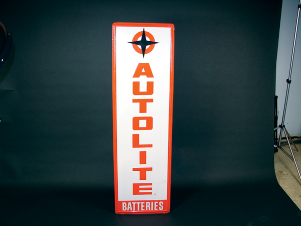 Late 50s-60s Auto Lite Batteries single-sided tin embossed garage sign. - Front 3/4 - 71514
