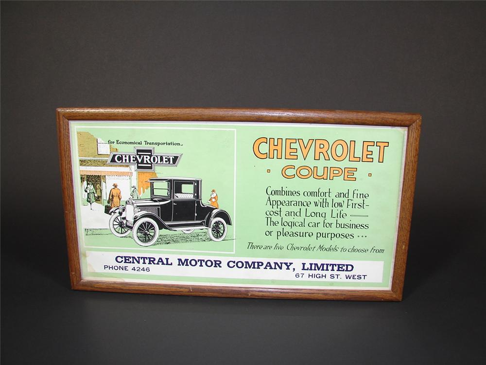 Striking 1920s Chevrolet Coupe single-sided cardboard trolley sign. - Front 3/4 - 71518