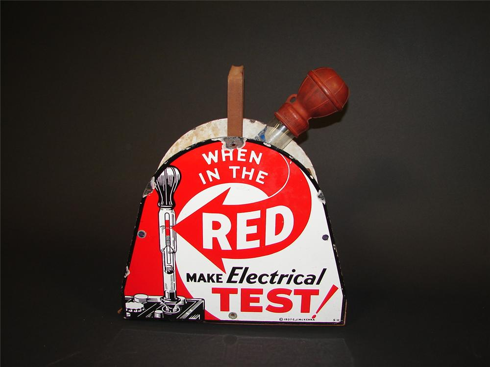 1936 Red Test service station battery service kit with porcelain signs. - Front 3/4 - 71520