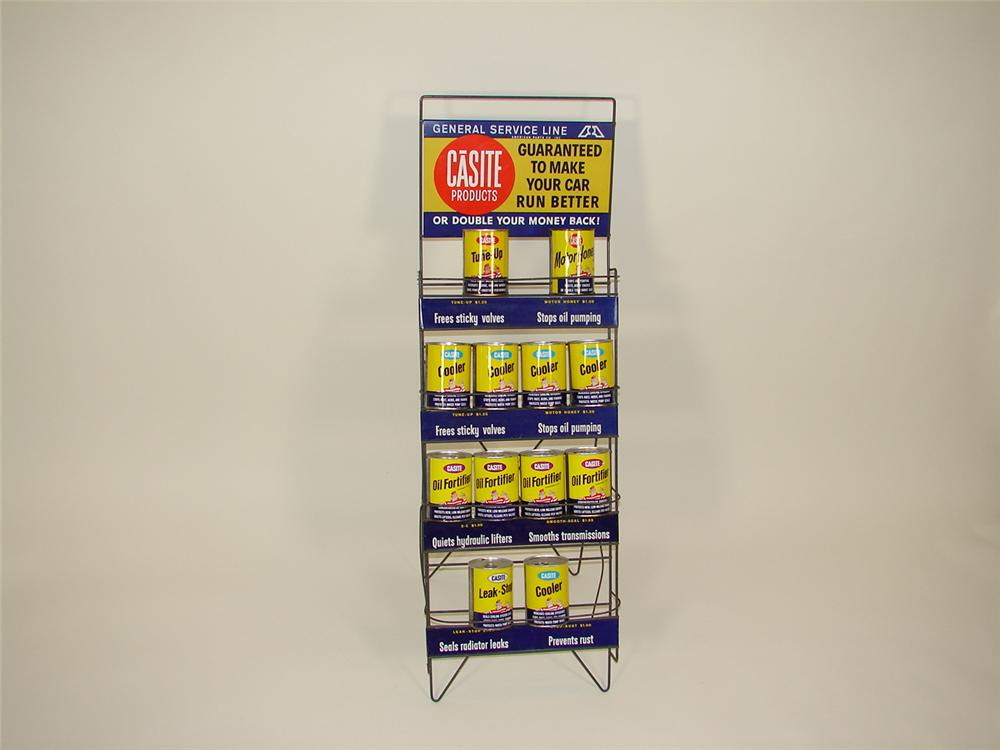 Fabulous 1960s Casite Automotive Products station display rack filled with N.O.S. cans. - Front 3/4 - 71521