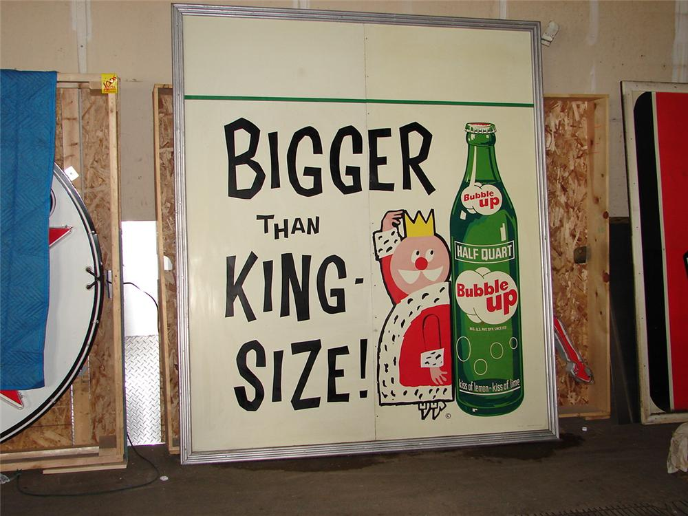 "N.O.S. 1950s Bubble-Up Soda ""king Size"" tin painted wood frame sign. - Front 3/4 - 71522"