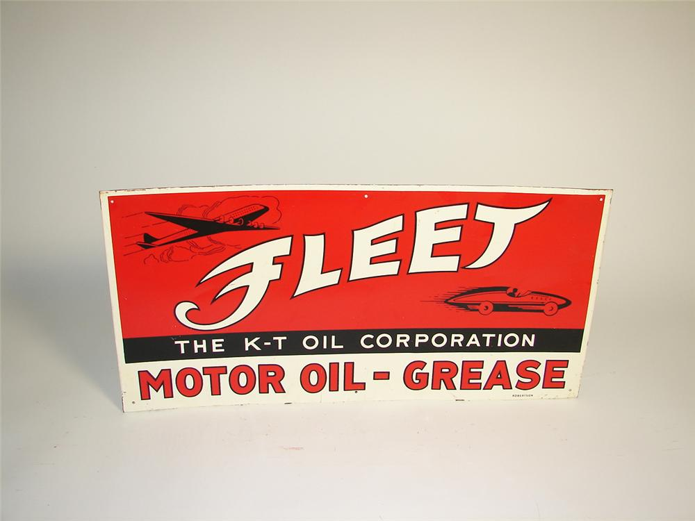 1940s Fleet Motor Oil - Grease single-sided tin garage sign with aviation and race car graphics. - Front 3/4 - 71525