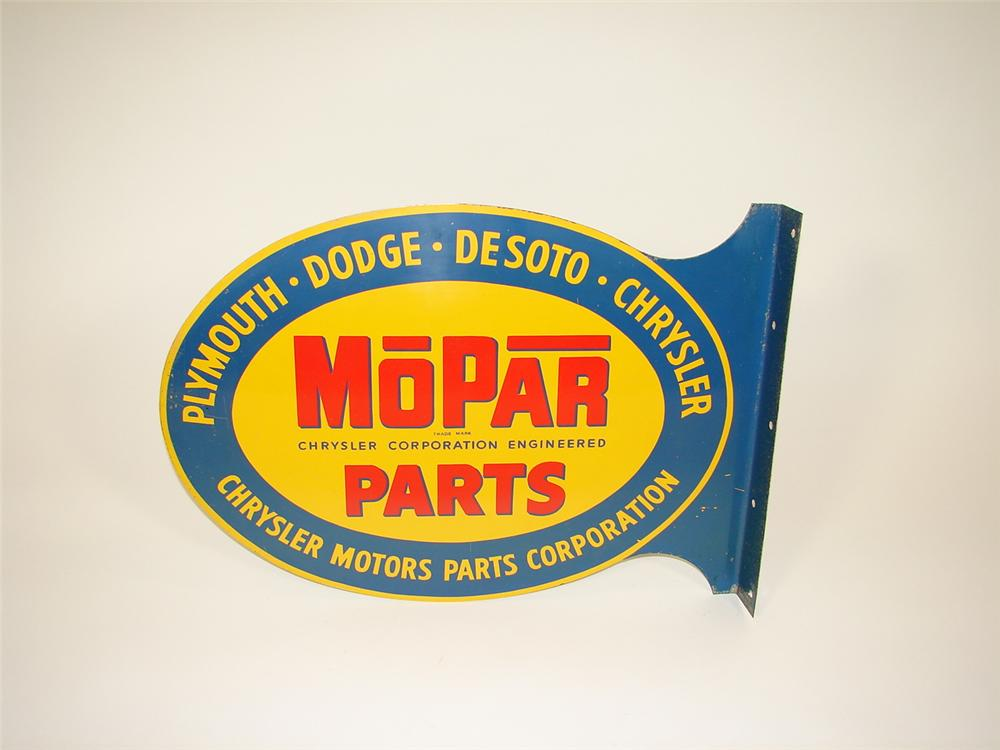 Scarce Mopar Parts double-sided tin garage sign. - Front 3/4 - 71531