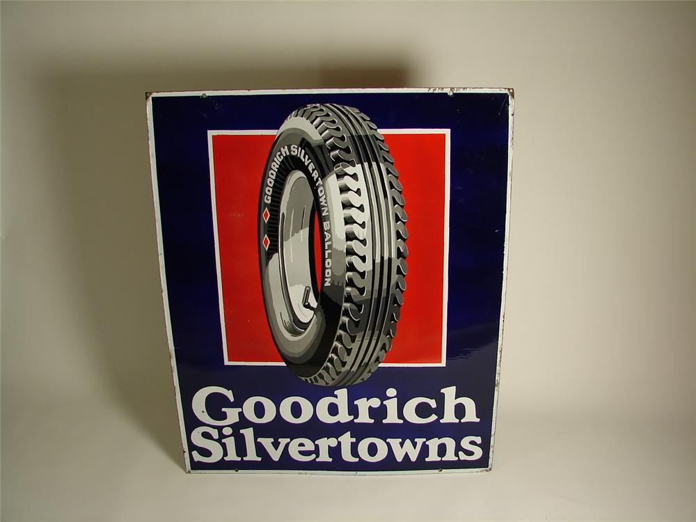 Killer 1930s Goodrich Silvertowns  dbl-sided porcelain garage sign with tire graphic. - Front 3/4 - 71533