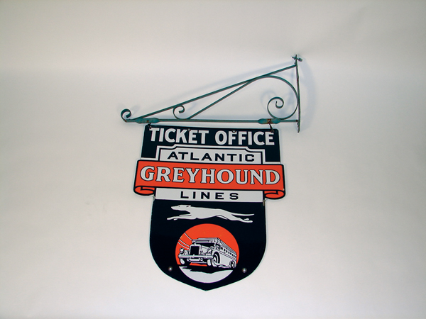 Unbelievable 1930s Greyhound Atlantic Lines Ticket-Office double-sided porcelain depot sign with original hanging bracket.  ... - Front 3/4 - 72113