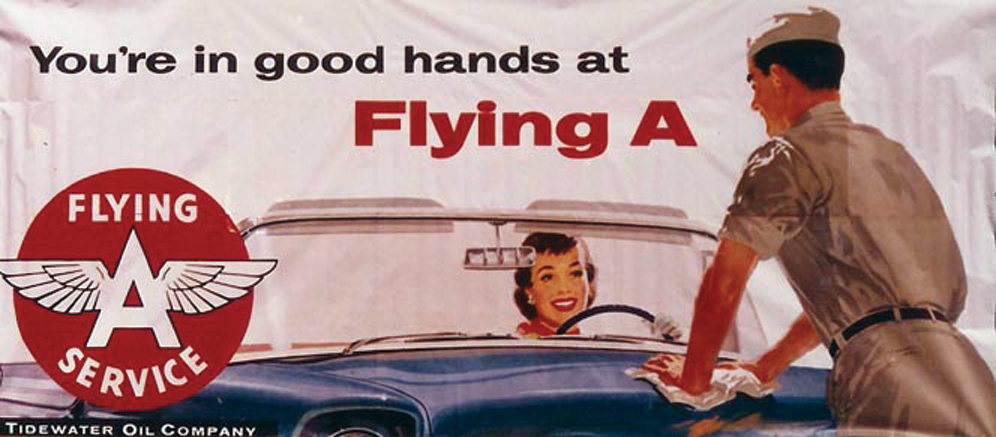 Early 1960s N.O.S. Flying A Service roadside billboard sign. - Front 3/4 - 72117