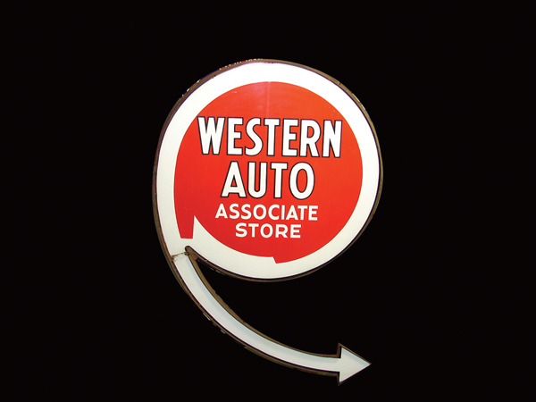 Choice 1940s-50s Western Auto double-sided porcelain store sign. - Front 3/4 - 72129