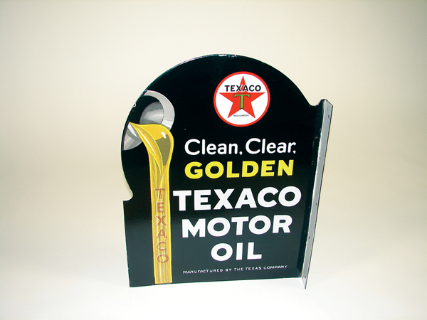 Beautiful 1930s Texaco Clean-Clear-Golden porcelain garage flange. - Front 3/4 - 72130