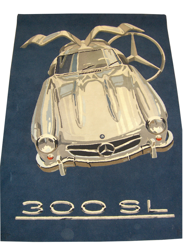 Beautiful Handmade Mercedes Benz 300SL Gull Wing hanging tapestry rug. - Front 3/4 - 72133