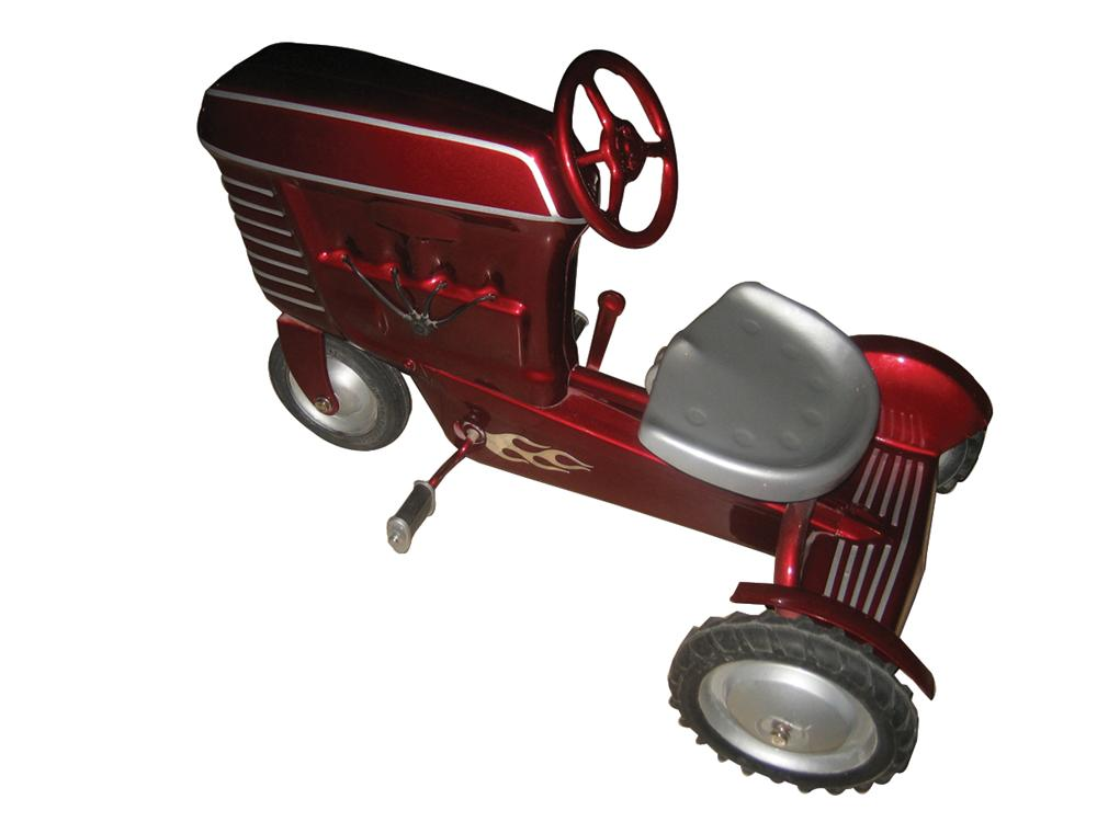 """Smokin 1950s Garton pedal tractor! Beautifully restored with custom candy apple red paint job and chrome flames. Size 35""""x20... - Front 3/4 - 72143"""