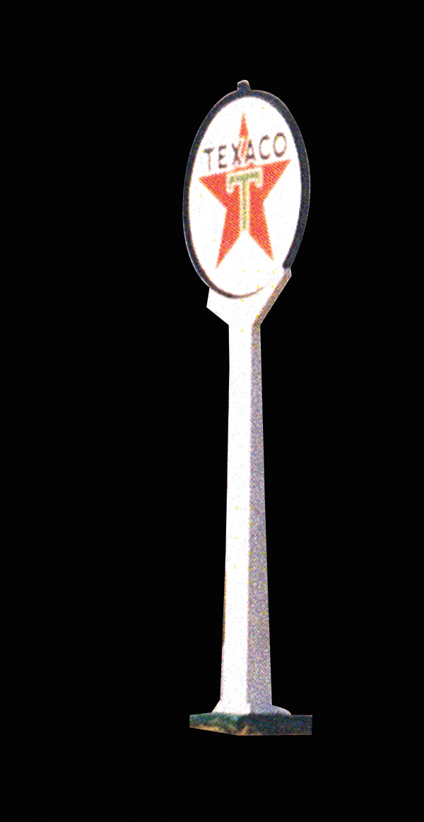 Impressive 1940s Texaco double-sided porcelain service station sign on original pole with lights - Front 3/4 - 72163