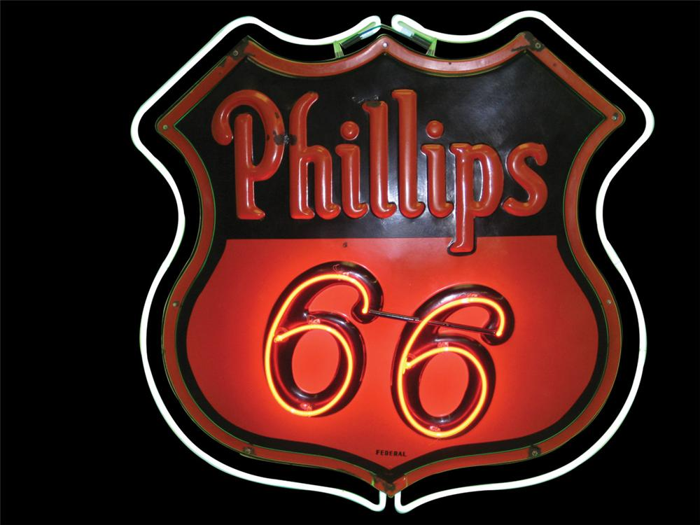 Iconic 1930s Phillips 66 double-sided embossed porcelain service station sign. - Front 3/4 - 72164