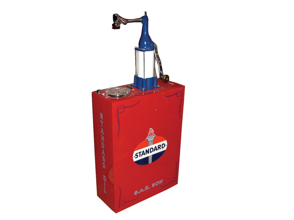 Exquisite 1930s Standard Oil professionally restored 30 gallon station lubester. - Front 3/4 - 72165