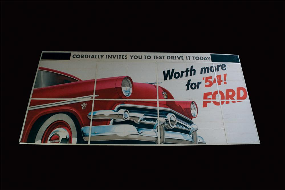 Stellar N.O.S. 1954 Ford Automobiles roadside billboard sign. Currently displayed in a temporary frame. - Front 3/4 - 72169