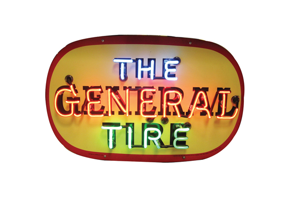 Superb 1940s The General Tire single-sided tin painted garage sign. - Front 3/4 - 72170