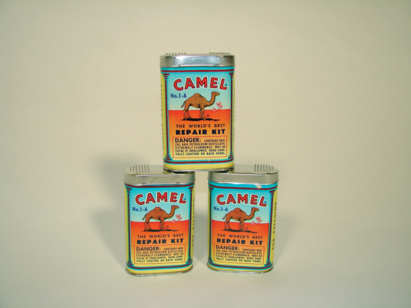 Lot of three N.O.S 1930s Camel Tube Repair patch tins. Condition: Near Mint - Front 3/4 - 72172